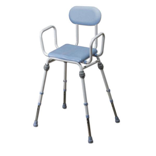 chair long legs blue seat