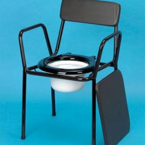 commode stackable chair blue background
