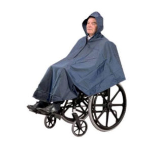 wheelchair blue poncho